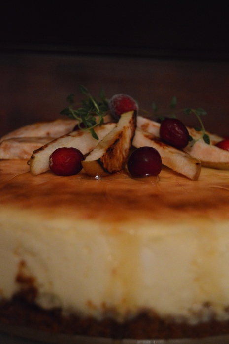 Amaretto Cheesecake With Roasted Pears and Honey: The Briarwood Baker